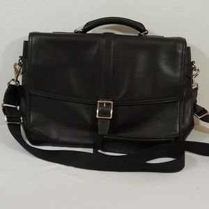 COACH SATCHEL BLACK LEATHER EUC HANDLE AND STRAP